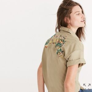 Madewell Embroidered Tie-Front Safari Shirt